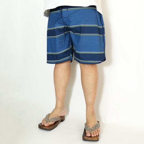 Striped Dolphin-Hem Board Shorts - Blue