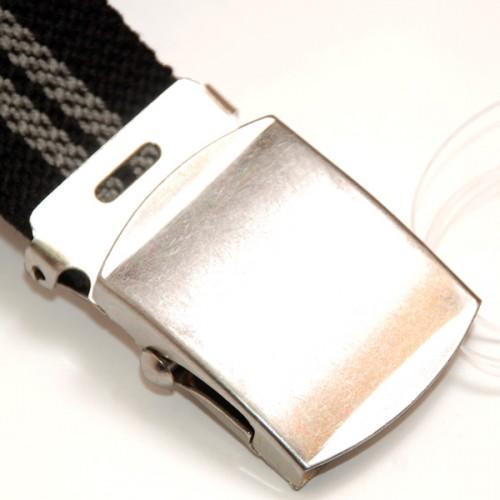 Extra Long Casual Web Belt - Black/Grey