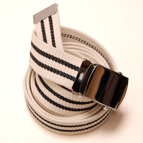 Long Casual Web Belt - White/Black