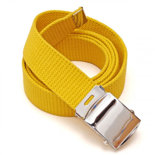 Long Casual Web Belt - Yellow