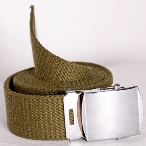 Long Casual Web Belt - Dark Green