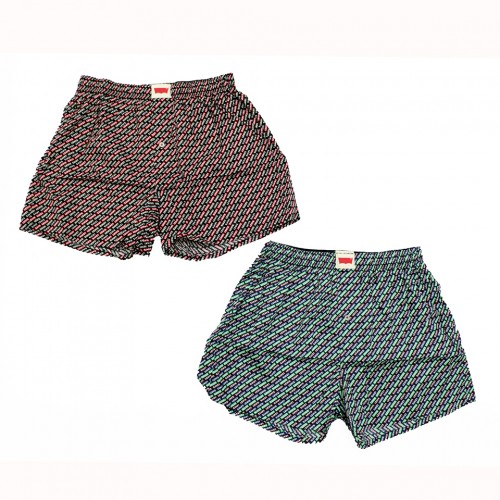 Vintage Logo Pattern Boxer Set - Red/Green