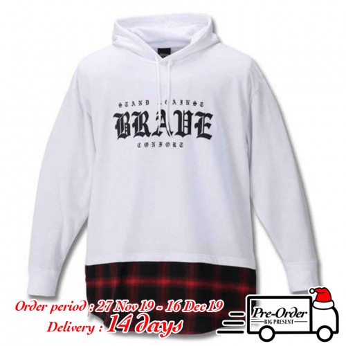 Check Flannel Style Hem Switching Hoodie - White