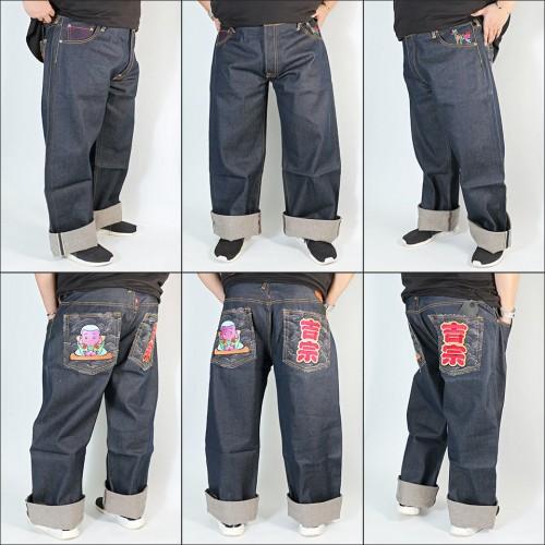 Genuine Exclusive Monk Embroidered Raw Selvedge Denim Jeans - Indigo