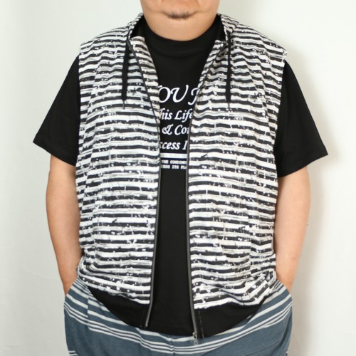 Summer Cotton Zip Vest - Black/White Stripe