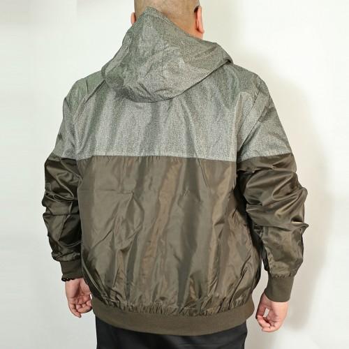 Color Block Zip Up Rainshell Jacket - Olive