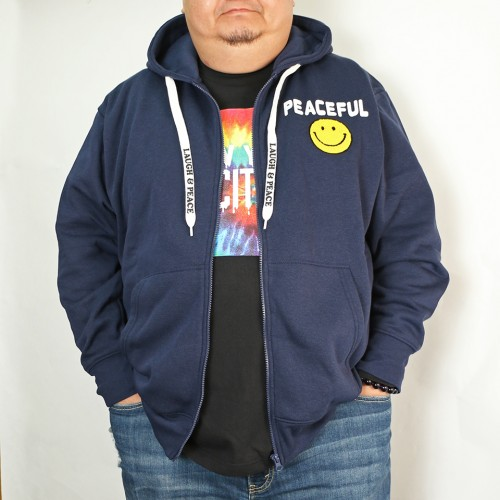 Laugh And Peace Fleece Jacket - Navy