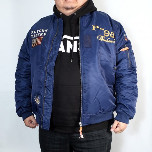 Patched Tiger MA-1 Flight Jacket - Navy