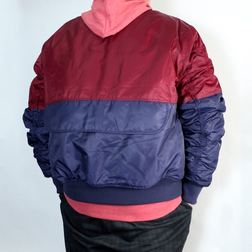 Color Block Padded Flight Jacket - Wine/Navy