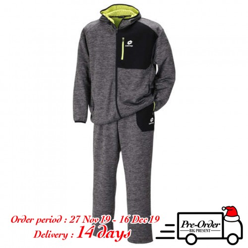 Tengu Bonding Dot Pattern Fleece Set - Charcoal