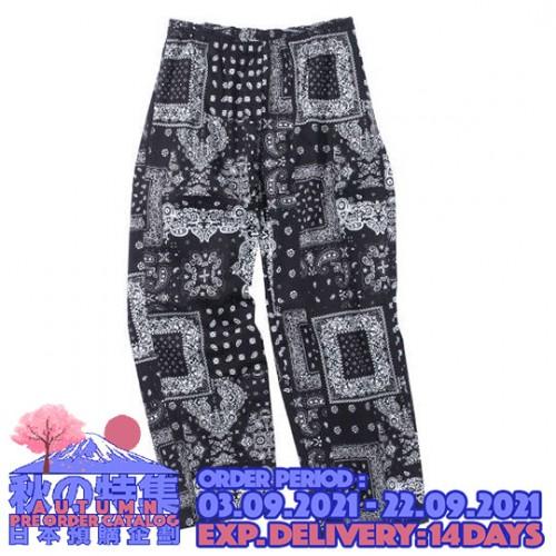Twill Camo Pattern Cafe Pants - Black Totem