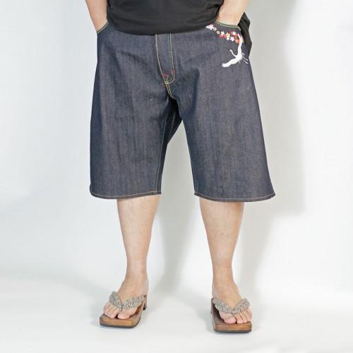 Embroidered AKASARUGUMI Denim Shorts - Indigo