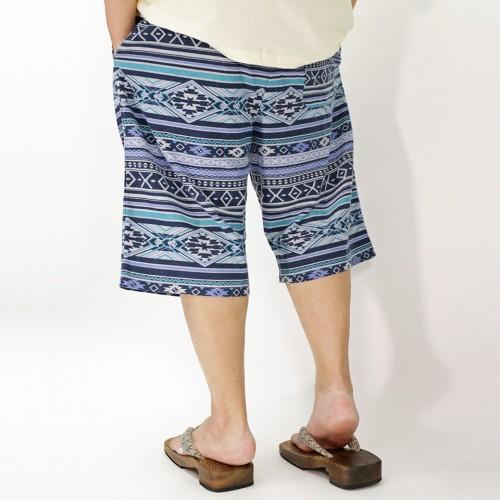 Ortega Pattern Casual Shorts - Blue