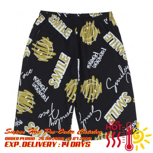 Smiley Face Total Pattern Shorts - Black