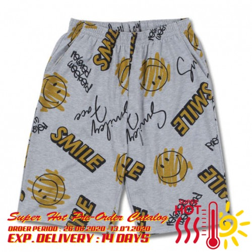 Smiley Face Total Pattern Shorts - Grey