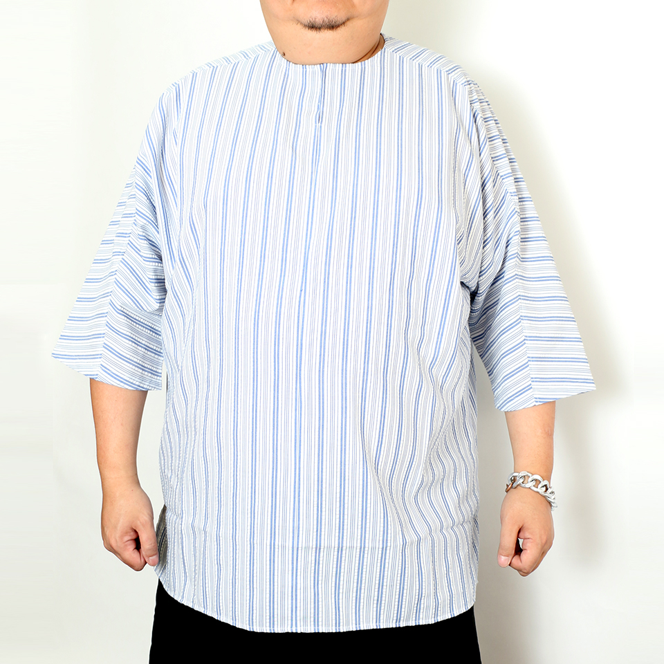 Seeksucker Hipple Shirt - White Blue Stripe