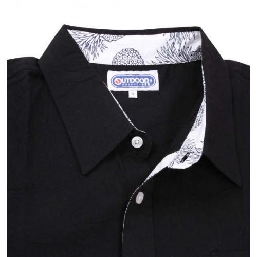 Cotton Linen Short Sleeve Shirt - Black