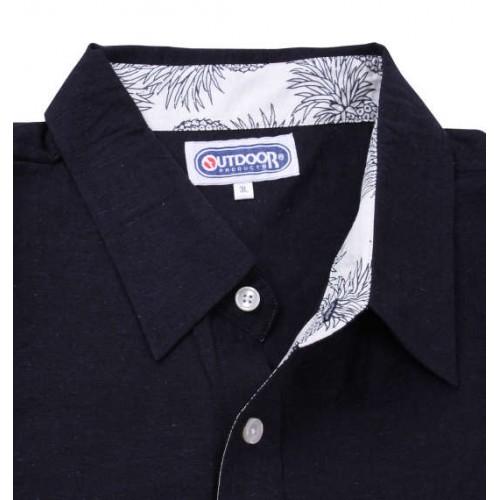 Cotton Linen Short Sleeve Shirt - Navy