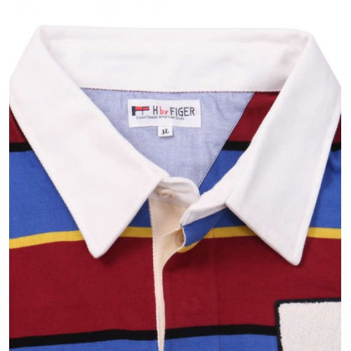 Sporty Applique Design Polo Shirt - Red/Blue