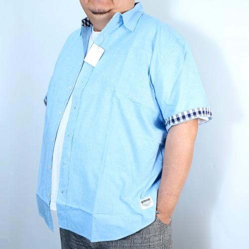 Plain Color Check Cuffs Shirt - Blue
