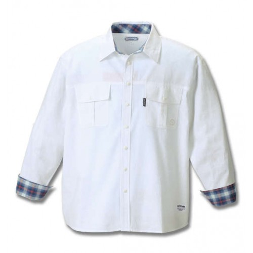 Roll Uplong Sleeved Cotton Shirt - White