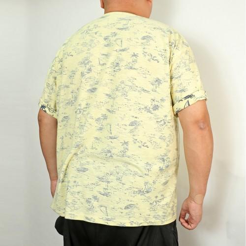 Back Print Aloha Pattern Tee - Yellow