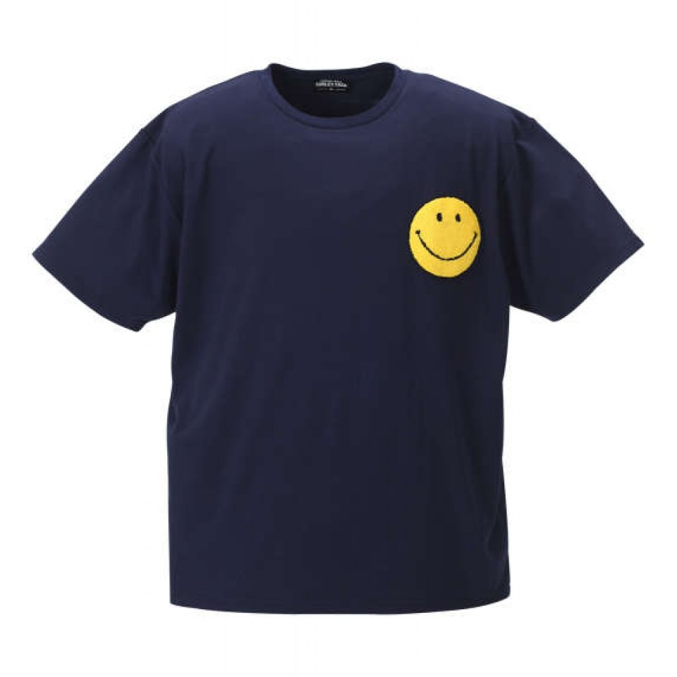 Sagara Embroidery Smiley Face Tee - Navy
