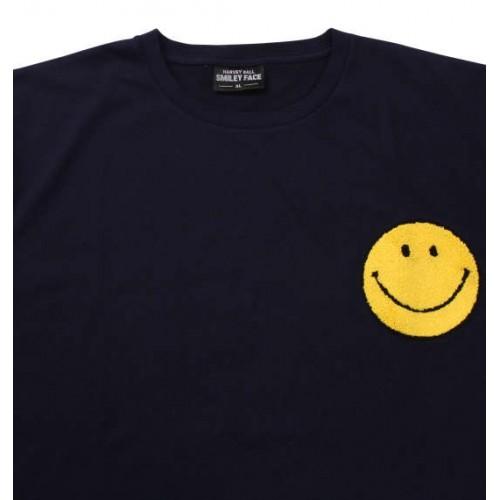 Sagara Embroidery Smiley Face Tee - Navy