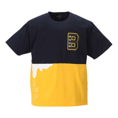 Splashing Beer Tee - Navy/Yellow