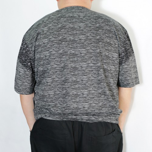Space Dye Shoulder Block V-Neck Tee - Black